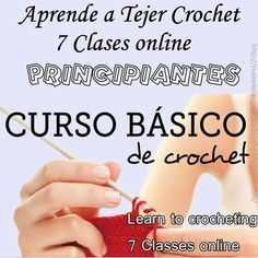 Materiales gráficos Gaby: Aprende a tejer crochet Learn To Crochet, Knit Crochet, Crochet Videos, Crochet Bikini, Free Pattern, Knitting, Stitches, Tips, Crafts