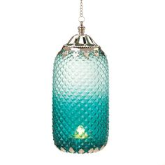 "9.5"" Aqua Teal Silver Glass Metal Hanging Candle Holder Lantern Moroccan Style Decor"