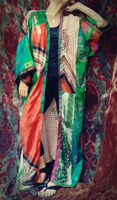 Floating Lotus Boho Kimono Coat Gypsy India Silk by HippieWild