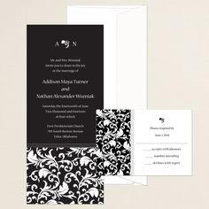 Devine Damask Wedding Invitation (available in other colors) | #exclusivelyweddings | #blackandwhitewedding
