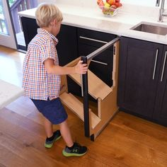Short people rejoice This step stool pulls out from your cabinet and it s the perfect solution for people who struggle to reach that top shelf It s made by Hideaway Solutions who are known for their innovative furniture designs Here s how it works