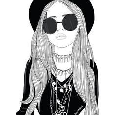 art, draw, girl, outline, sketch, tumblr