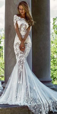 24 Trumpet Wedding Dresses That Are Fancy & Romantic ❤️ trumpet wedding dresses with illusion sleeves lace sexy train nektaria ❤️ Full gallery: https://weddingdressesguide.com/trumpet-wedding-dresses/