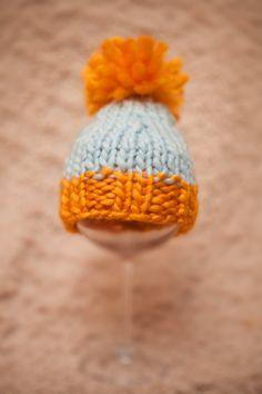 Newborn Knitted  Pom Pom hat  Orange/Grey by AnnWo on Etsy, £7.00