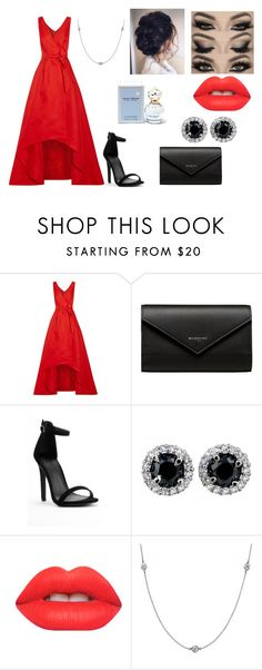 """""""Going to a school ball with your boyfriend!"""" by sarapotter98 on Polyvore featuring Oscar de la Renta, Balenciaga, Lime Crime, Elsa Peretti and Marc Jacobs"""