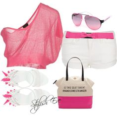 """PINK and White Outfit !"" by stylisheve on Polyvore"