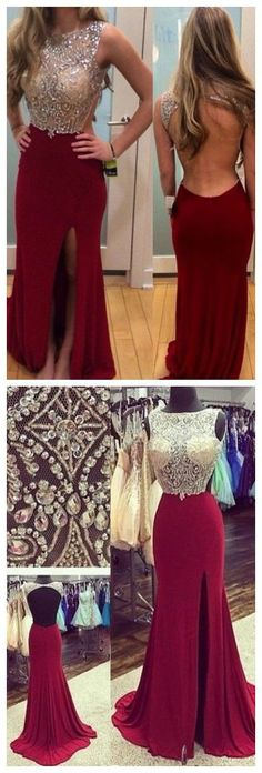 2017 Custom Made Red Beading Prom Dress,Sexy Open Back Evening Dress,Sleeveless Party Gown,Sexy Side Slit Prom Dress,High Quality