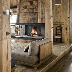 Viyet Style Inspiration   Log Cabin   Hearth    #interiordesign #home #cozy