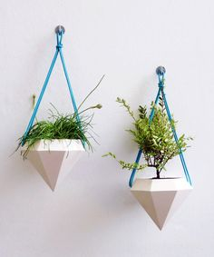 Modern Hanging Turquoise Diamond Planter - *LOVE* these! #gardening #plants #home #decor