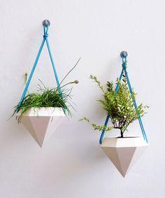Modern Hanging Turquoise Diamond Planter - *LOVE* these! #gardening #plants #home #decor