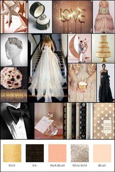 Vintage Glam Blush Black Gold Champagne Inspiration Board