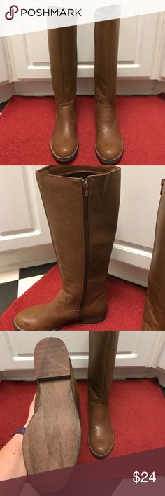 Tall Tan Boots Worn once, side zipper Shi by Journey Shoes Combat & Moto Boots