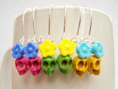 Tiny Skull Earrings - You Choose Your Own Colors - by polishedtwo, $9.00