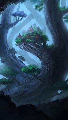 Elven Forest, Will Roberts on ArtStation Fantasy Forest, Fantasy City, Magic Forest, Fantasy Places, High Fantasy, Fantasy World, Dark Forest, Fantasy Concept Art, Fantasy Artwork