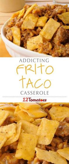 Frito corn chips are one of our favorite junk/snack foods and we knew that the way to take this casserole to the (guilty) next level was to include them with our beef, beans and chiles. This dish is loaded with flavor and we can't wait to make it again! Taco Casserole With Rice, Mexican Casserole, Mexican Cornbread Casserole, Easy Taco Casserole, Beef Casserole Recipes, Ground Beef Casserole, Casserole Dishes, Casseroles With Hamburger Meat, Beef Casseroles Dinners