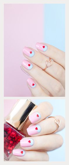 60 Simple Valentine's Day Nail Art Designs 2019 These trendy Nails ideas would gain you amazing compliments. Heart Nail Designs, Valentine's Day Nail Designs, Nails Design, Seasonal Nails, Holiday Nails, French Nails, Heart Nails, Heart Ring, Cute Nail Art