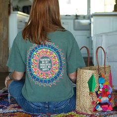 """Sunshine On My Shoulders"" Comfy Tee - Life is better when you're comfy! Natural Life Comfy Tees are perfect for lounging around the house, heading to the beach or wearing to bed! This one features the inspirational sentiment, ""Sunshine on my shoulders makes me happy"" with a  bright mandala print and loose, easy fit."