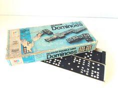 Vintage 1970 Milton Bradley Dragon Black White Dominoes #MiltonBradley
