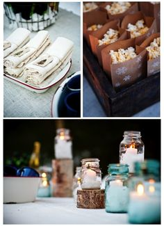 Great ideas for a winter party!  And I already have the candles with epsom salt in jars ready to go.
