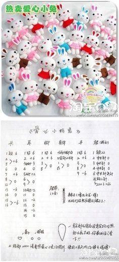 출처 : weibo.com/u/5050476355 / pinterest 귀염 귀염 토끼들이네요 ^^ ( 우지 사용기호 : X 짧은뜨기, ...