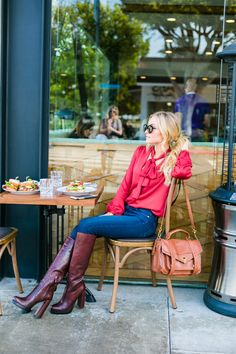 Red L'Academie Tie Neck Blouse paired with jeans and platform boots, plus a review of Ox and Son in Santa Monica, California.