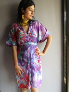 Cozy Front Buttoned Short Kaftan Style made From B4 Fabric Pattern