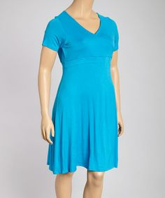 Another great find on #zulily! Turquoise Surplice Dress - Plus #zulilyfinds