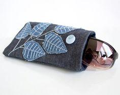 Denim Blue Sunglasses Case Denim Blue Eyeglasses Case by Yanettine