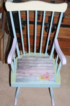 Charmant Childu0027s Rocking Chair... Chalk Painted In Multi Colors... Decoupaged Seat