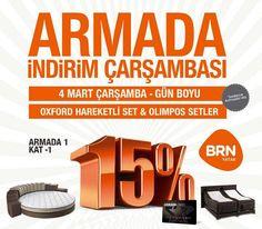 Ankara BRN Armada mağazamıza özel 4 Mart Çarşamba günü Olimpos ve Oxford Setimizde %15 net indirim sizleri bekliyor.