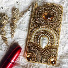 Luxuosa capa de celular madrepérola