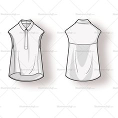 Women's asymmetrical blouse with exaggerated side vent, pocket and 3/4 sleeves. Includes front and back of fashion sketch.