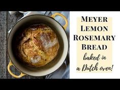 Meyer Lemon Rosemary Bread is an easy, no-knead bread you can make in a Dutch oven at home. This fragrant bread smells so incredible! Artisan Bread Recipes, Dutch Oven Recipes, Fun Baking Recipes, Boursin Recipes, Lemon Recipes, No Knead Bread, Sourdough Bread, Rosemary Bread, Vegetable Bread