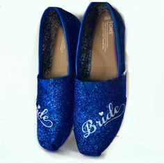 10 OFF with code  PINNED10 Womens Sparkly Glitter Toms Royal Something Blue  Weddings Bride comfortable dd2386619