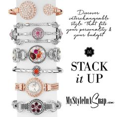 Magnolia and Vine interchangeable jewelry Snaps make stacking bracelets effortless! BUY 4 SNAPS, GET 1 FREE! Discover interchangeable style that fits your personality and your budget at MyStyleInASnap.com