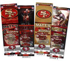 San Francisco 49ers NFL Custom Party Ticket Invitations on Etsy, $8.99
