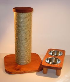 "3 bowl pet feeding station      	Solid wood construction  	3 Removable 3 1/2 "" Stainless steel food bowls   	non marking feet  	16 1/2"" Long X 5 1/2"" wide X 2 3/4"" high        ​15"" sisal rope cat scratching post      	Strong but lightweight (to minimize shipping costs) construction.  	Removable wood cap so you can add rocks, sand or any heavy material (do not use water) for extra stability.  	​ Ships in 2 parts all you need is a Phillips screwdriver to tighten the 4 x ¼ inch bolts.  	The…"