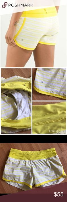 "Lululemon Groovy Run Shorts Twin Stripe Sizzle 6 Lululemon Groovy Run Short in Twin Stripe Sizzle. Great condition w/no rips, tears, holes or stains. Waistband has small area of puckered fabric, see photo. Size 6 measures 15"" across waist laying flat   These are for long loggers who love our speed shorts-they have the same slim fit w/ a 4.5"" inseam -Lightweight, moisture wicking Swift fabric has 2 way stretch -Luxtreme fabric waistband wicks moisture & won't bunch up under your top -3 pocket…"