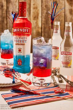Smirnoff Red White and Berry was named 2017 Best Spirit by Product of the Year. This American Masterpiece cocktail will have your Fourth of July party-goers oohing and ahhing before the fireworks start. Layer in grenadine, blue curaçao, Smirnoff Ice Original, and Smirnoff Red White and Berry vodka for a delicious, patriotic cocktail that keeps you free to mix and mingle. RECIPE: SMIRNOFF AMERICAN MASTERPIECE RECIPE: 1 oz SMIRNOFF RED WHITE AND BERRY VODKA HALF btl SMIRNOFF ICE .5 oz BLUE…