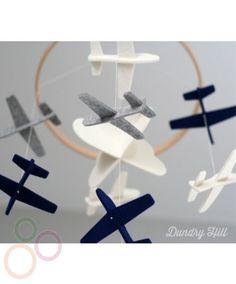 Handmade Felt Airplane Mobile - Grey and Blue