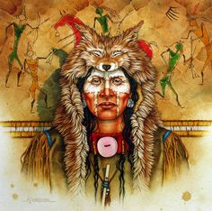 "Eyes of the Hunter (Crow Scout) by Kenneth Ferguson Varnished Watercolor ~ 14"" x 14"""