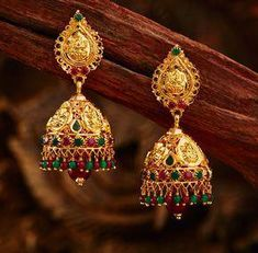 Khazana Jewellery offers exquisite collection of Gold Jewellery Designs for women. We are one of the Top jewellers in India having beautiful Indian bridal necklace & bridal jewelry sets with latest designs from our stores. Gold Jhumka Earrings, Jewelry Design Earrings, Gold Earrings Designs, Gold Jewellery Design, Handmade Jewellery, Necklace Designs, Gold Necklace, Bridal Necklace, Jewelry Stand