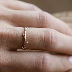 14k Rose Gold Twig Ring Stacking Ring Nature by ColbyJuneJewelry