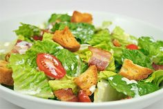 """BLT SALAD - This BLT Salad recipe was created for a """"bacon"""" themed gathering. All the flavors of the classic sandwich, served up as a salad.  Get this recipe by clicking on the link below: http://ow.ly/1yVl301D8xp"""