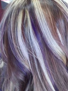 Purple lowlights and blonde highlights