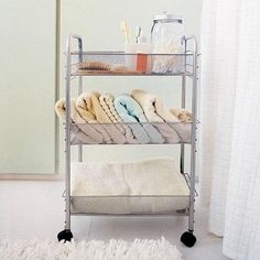 Mesh Rolling Cart - sometimes is seems like there is never enough storage space in the bathroom. This cart is perfect for your folded towels and extra bath products, and will also attractively hold your bathroom necessities. Narrow Bathroom Storage, Storage Spaces, Small Storage, Bathroom Cart, Storage Cart, Storage Ideas, Creative Storage, Walmart, Wire Shelving