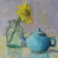 "Daily Paintworks - ""Yellow Flower #2"" - Original Fine Art for Sale - © Carol Josefiak"