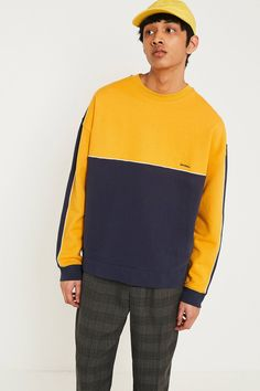 Blue and Mustard Panel Sweatshirt   Urban Outfitters   Urban Outfitters    Men s b11aeb148dd8