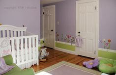 Baby Girl Room - contemporary - kids - boston - KNK studios  LOVE the little garden decals and the green paint for grass.