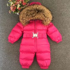 abbdf8a56ef4 Baby Jumpsuits Boys Girls Winter Overalls Baby Rompers Duck Down Jumpsuit  Real Fur collar Children Outerwear Kids Snowsuit